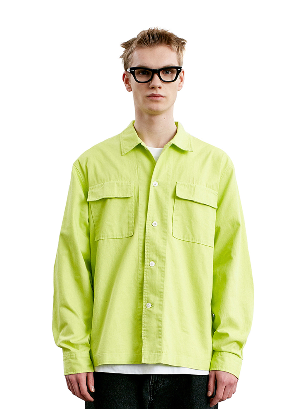 WASHED POCKET SHIRT yellow green