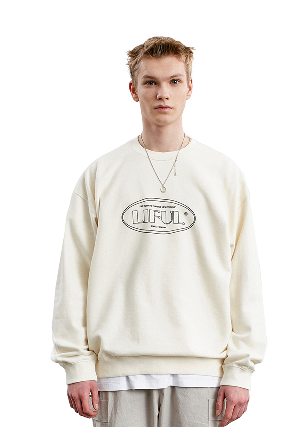 19SS LINE OVAL LOGO SWEATSHIRT cream