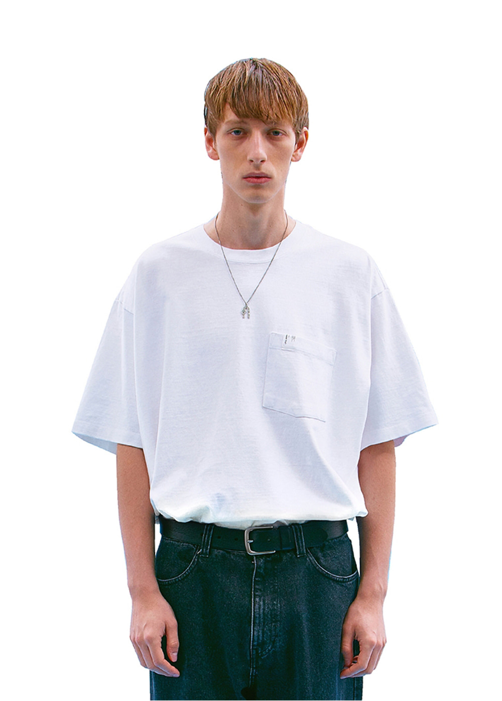 P-DYED POCKET OVERSIZED TEE snow white