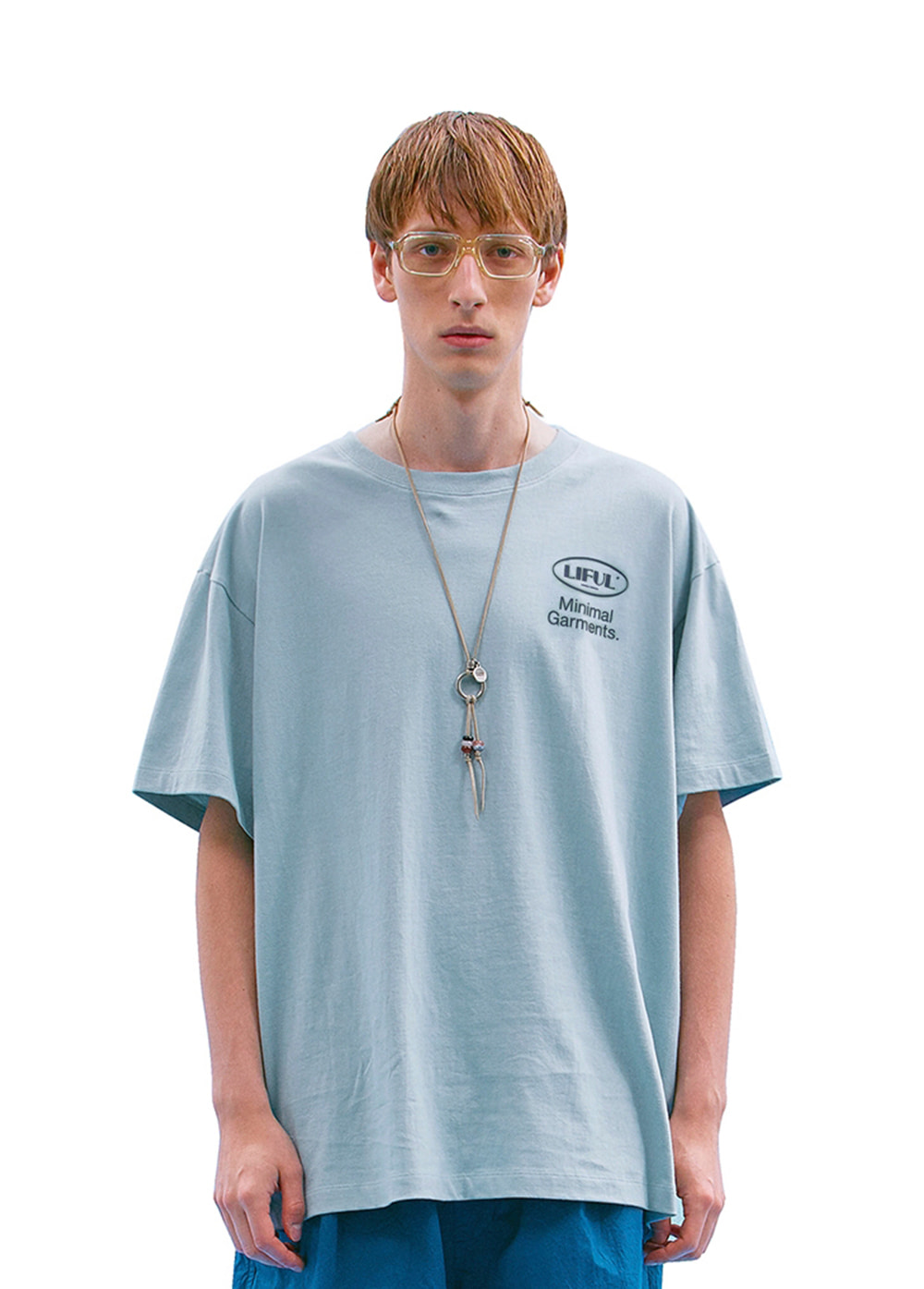 BIG OVAL LOGO TEE sky blue
