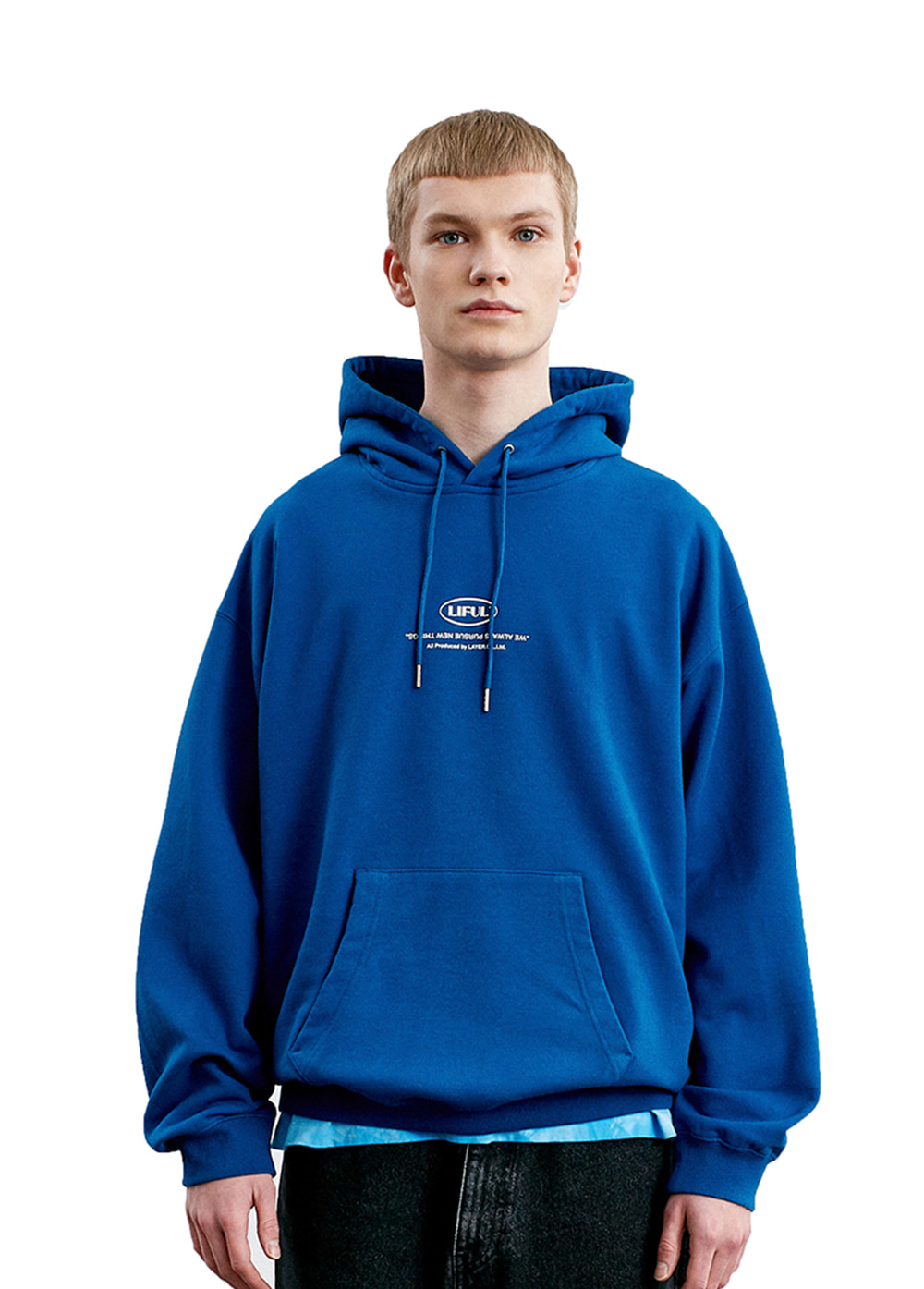 LIFUL MINI OVAL HOODIE blue
