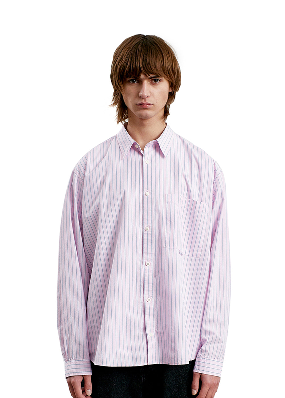 CLASSIC POCKET SHIRT pink stripe