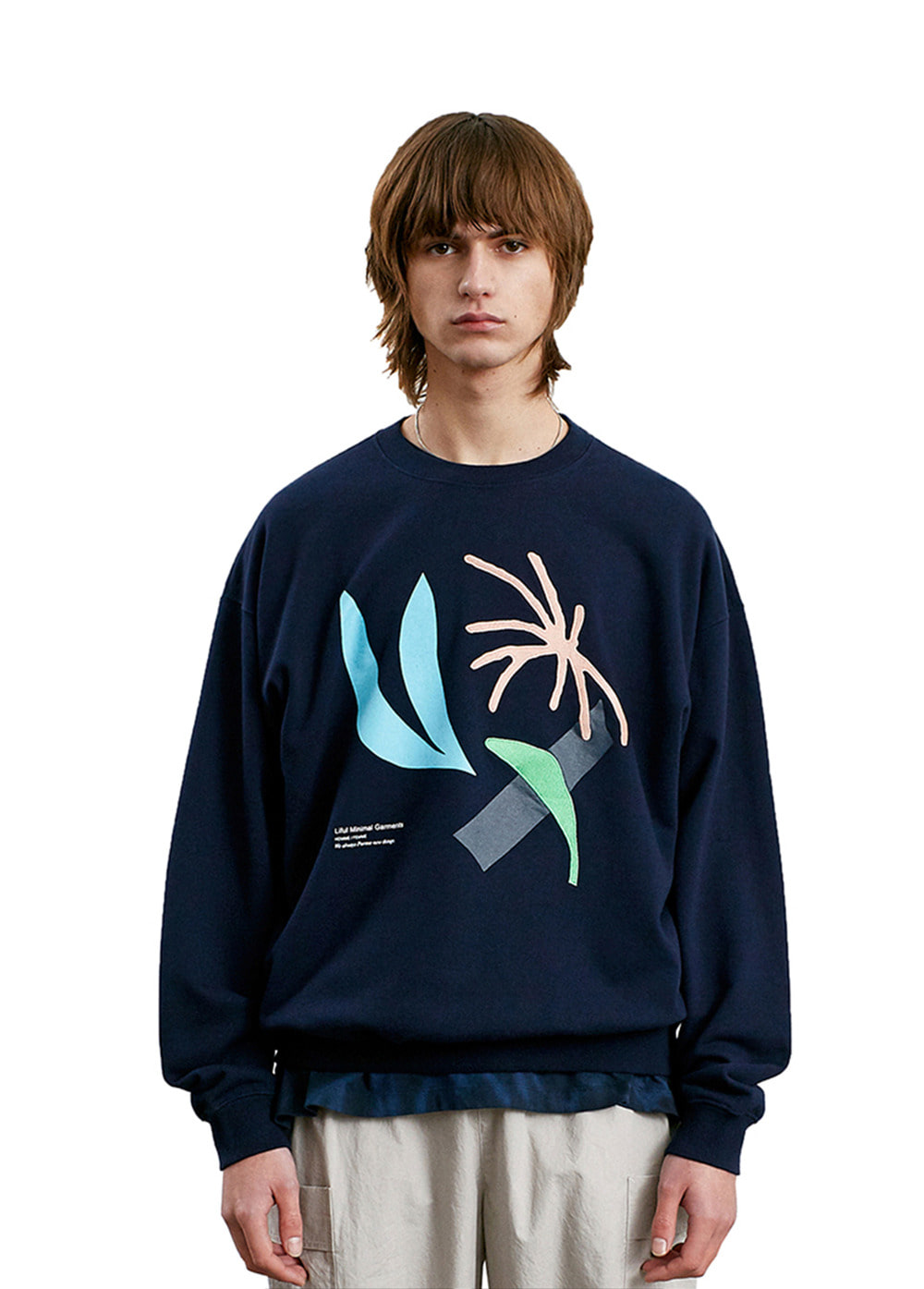 DOODLING COLLAGE SWEATSHIRT navy