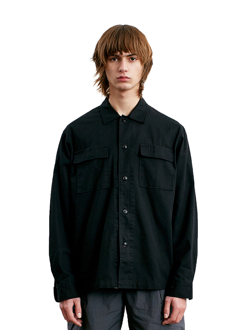 WASHED POCKET SHIRT black