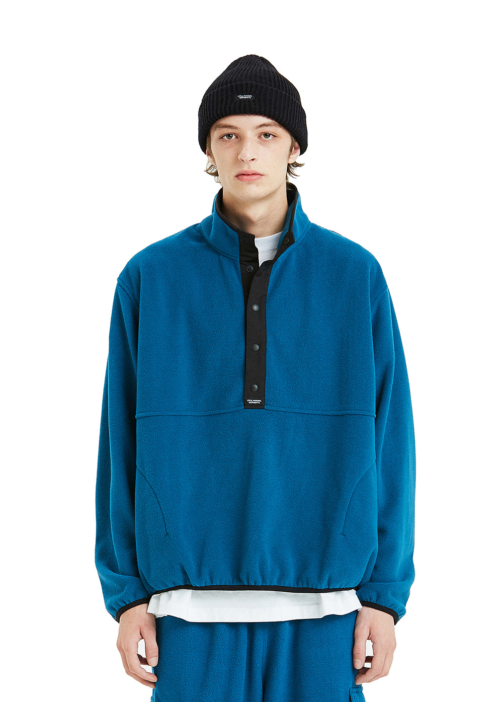 FLEECE PULLOVER JACKET blue green