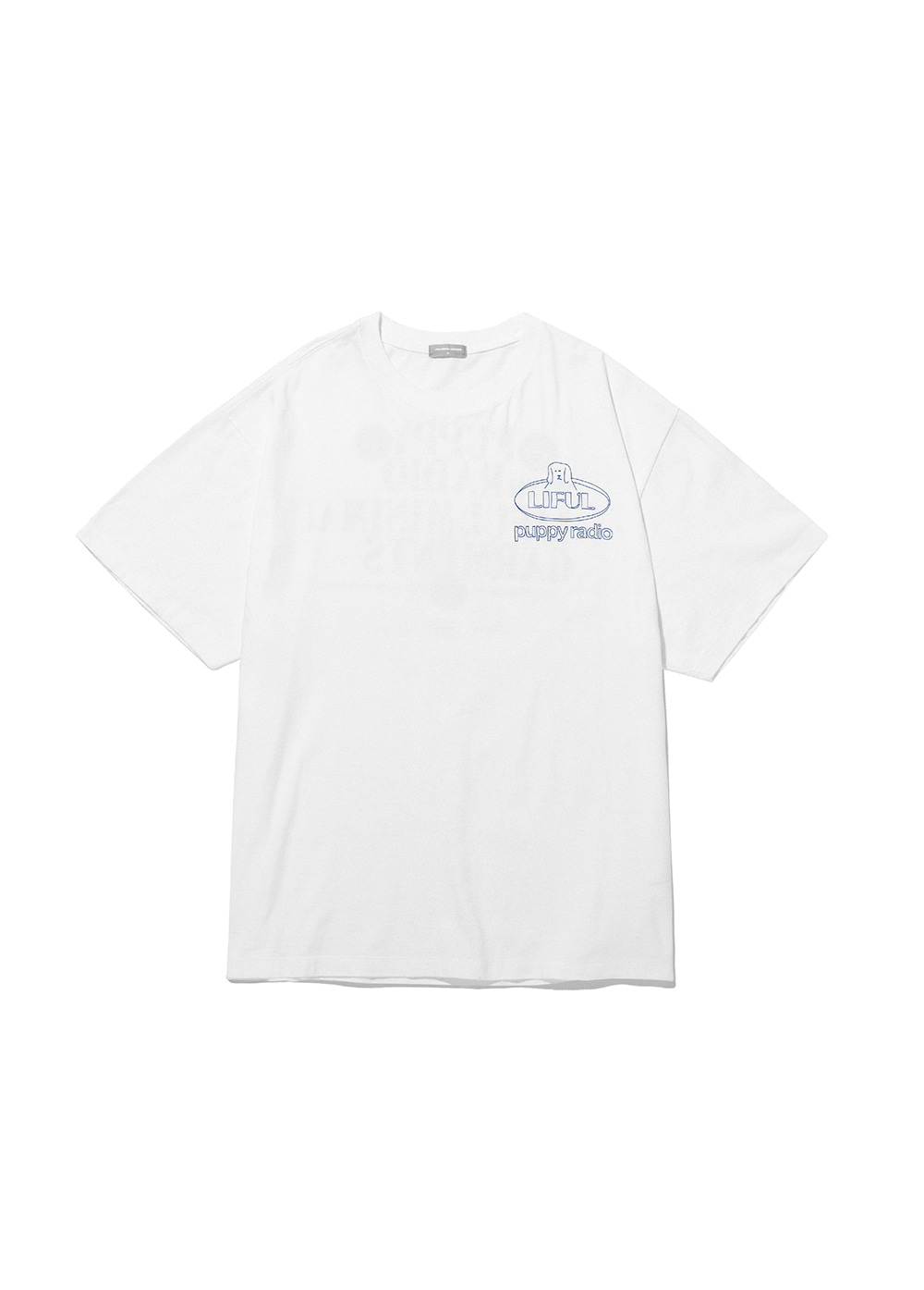 LIFUL x PUPPY RADIO SLOGAN TEE white