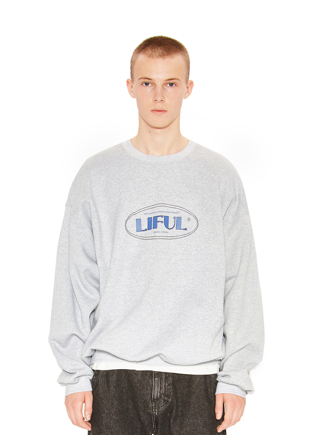 LINE OVAL LOGO SWEATSHIRT gray