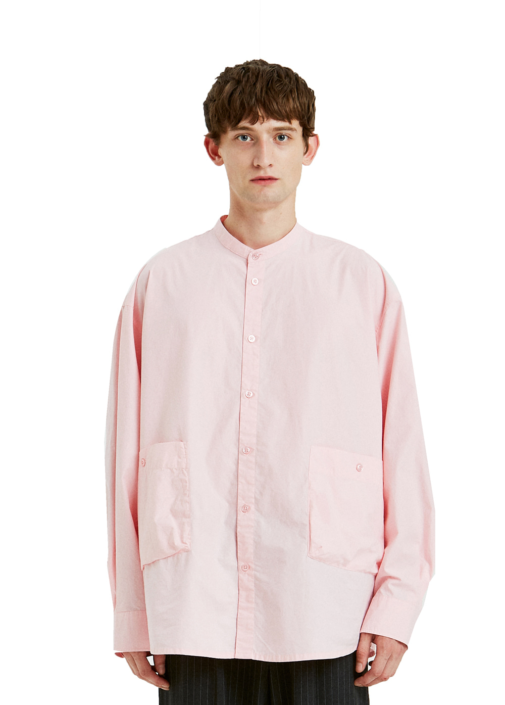 BAND COLLAR POCKET SHIRT pink