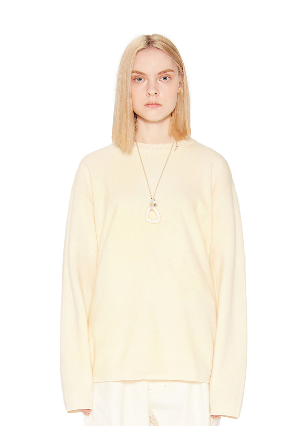 CASHMERE KNIT SWEATER cream
