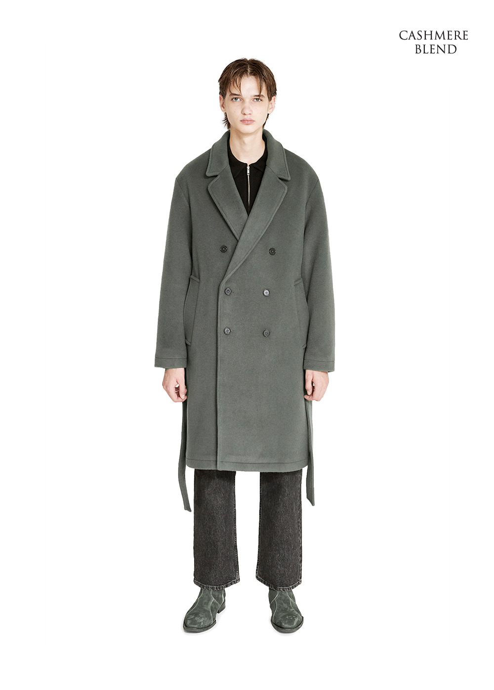 DOUBLE BREASTED ROBE COAT khaki gray