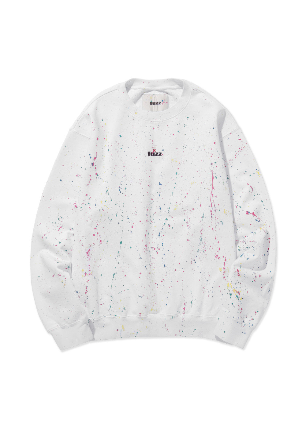 FUZZ OVER DYED PAINT SPLATTER SWEATSHIRT white