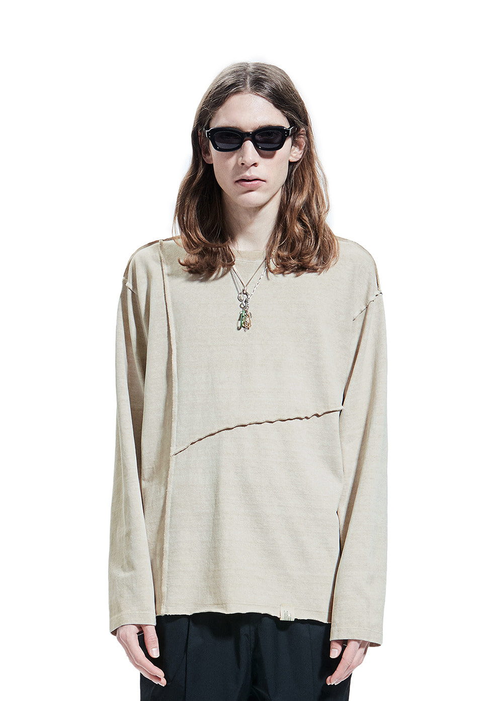 SEAM OUT P-DYED LONG SLEEVE TEE light beige