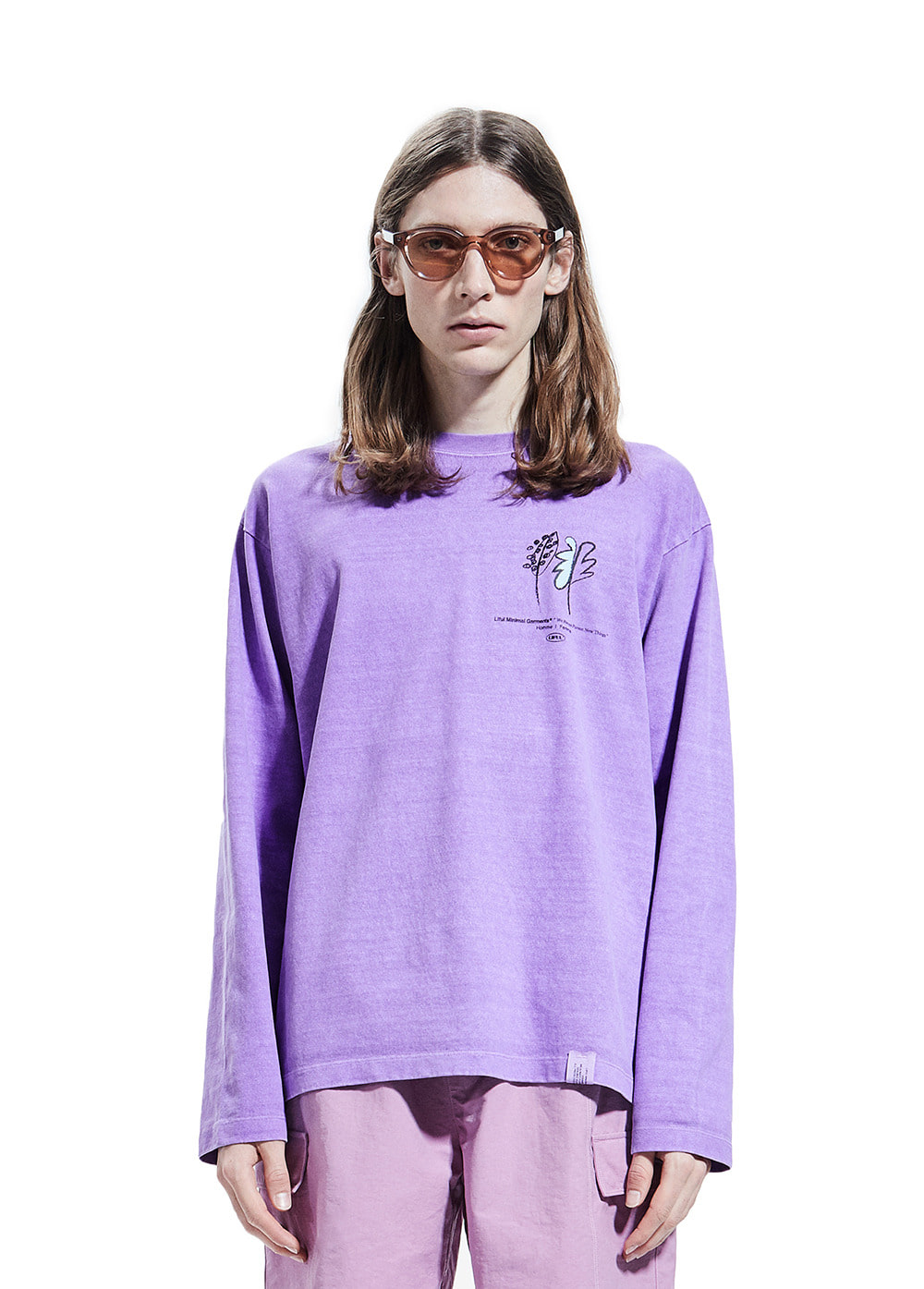 P-DYED FLOWER LONG SLEEVE TEE violet
