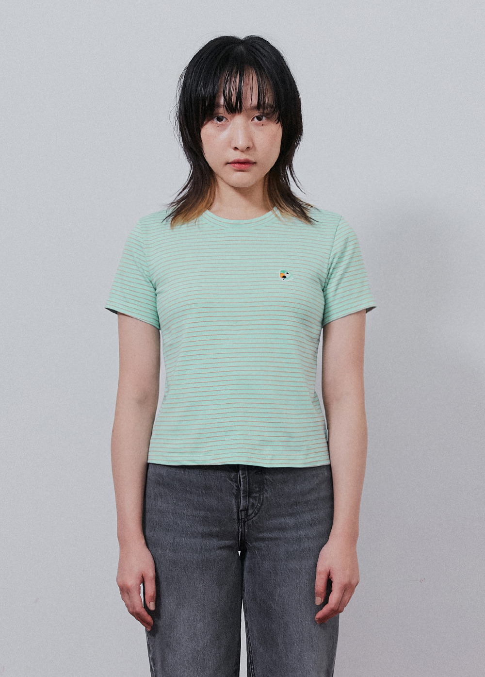 KANCO STRIPE CROP TEE sky blue
