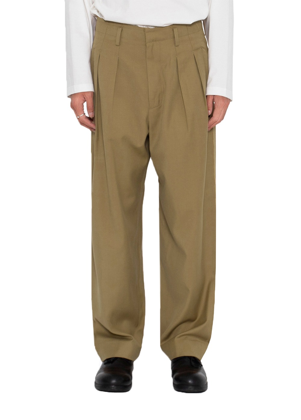 LIFUL CUT OUT TWO TUCK TROUSERS beige brown