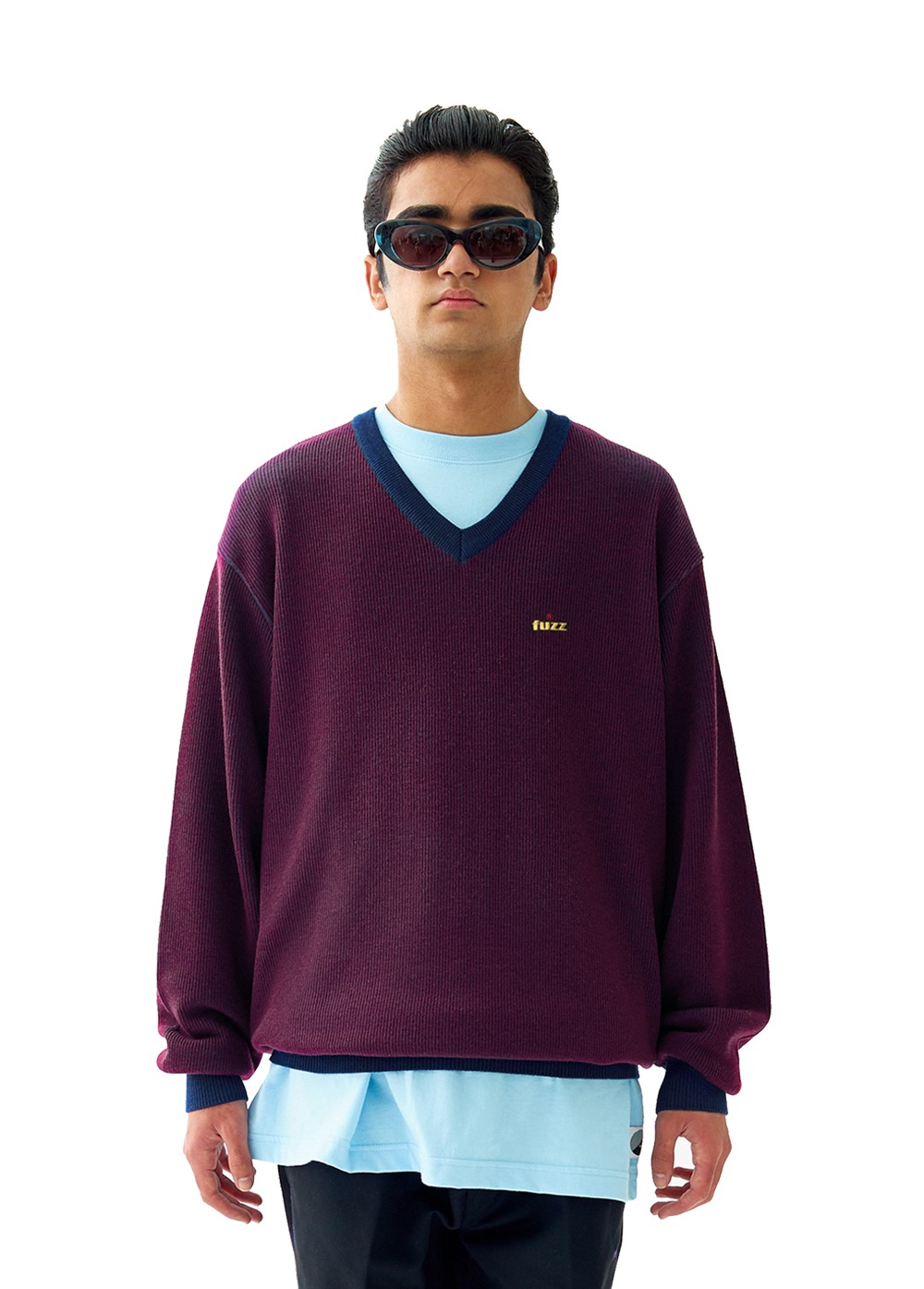 FUZZ V-NECK KNIT burgundy