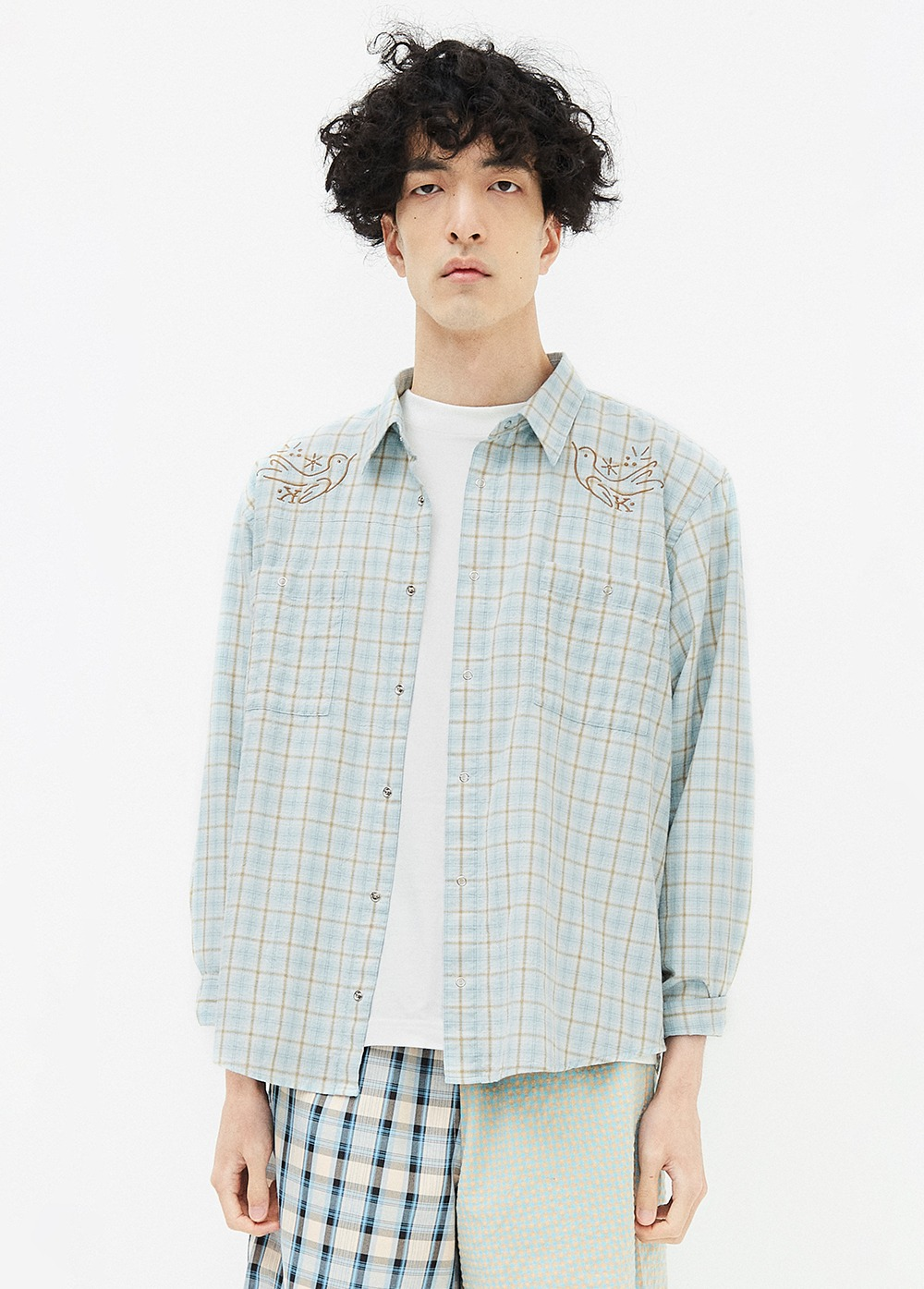 KANCO 2 POCKET CHECK SHIRT blue