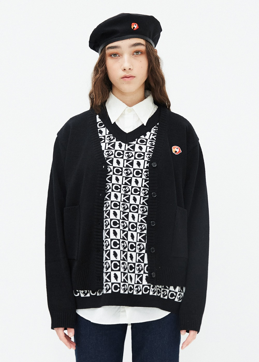 KANCO LOGO CARDIGAN black