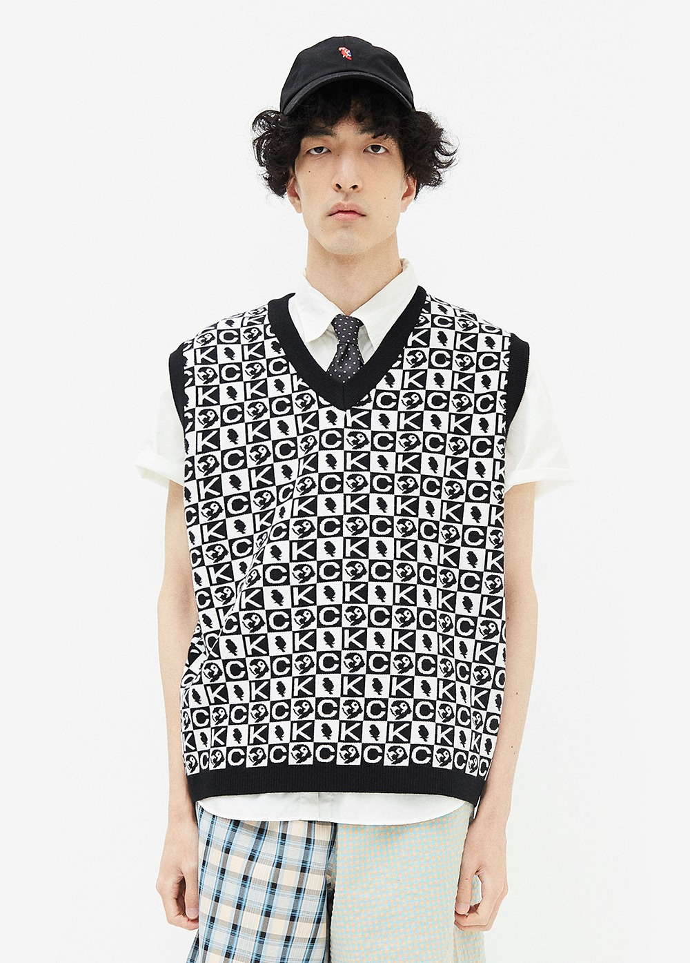 KANCO PATTERN KNIT VEST black/white