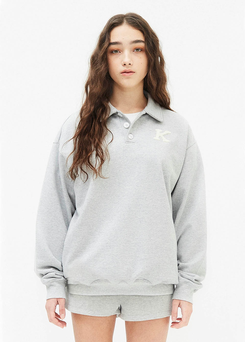 KANCO COLLAR SWEATSHIRT heather gray