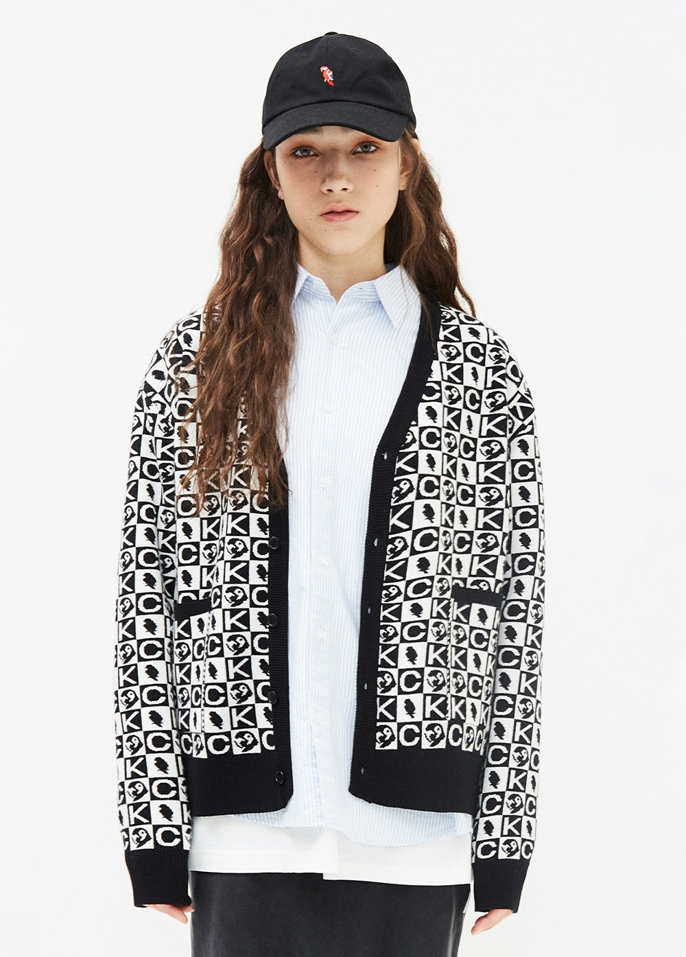KANCO PATTERN CARDIGAN black/white