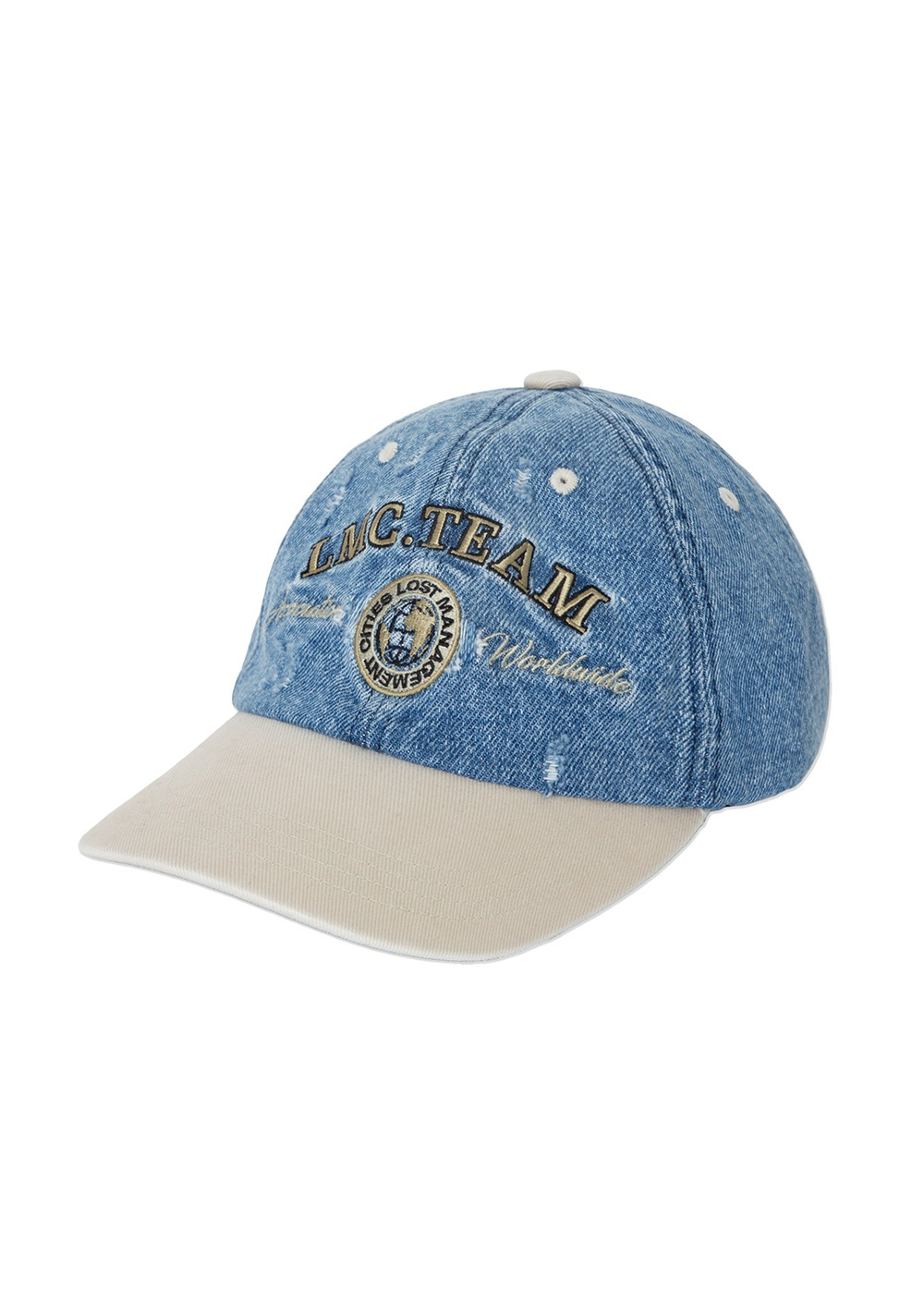 LMC TWO TONE WASHED DENIM 6 PANEL CAP blue