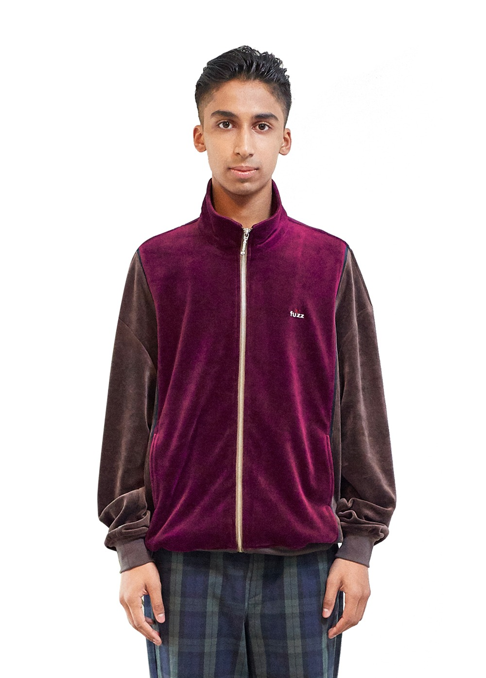 FUZZ SOFT VELOUR JACKET burgundy/brown