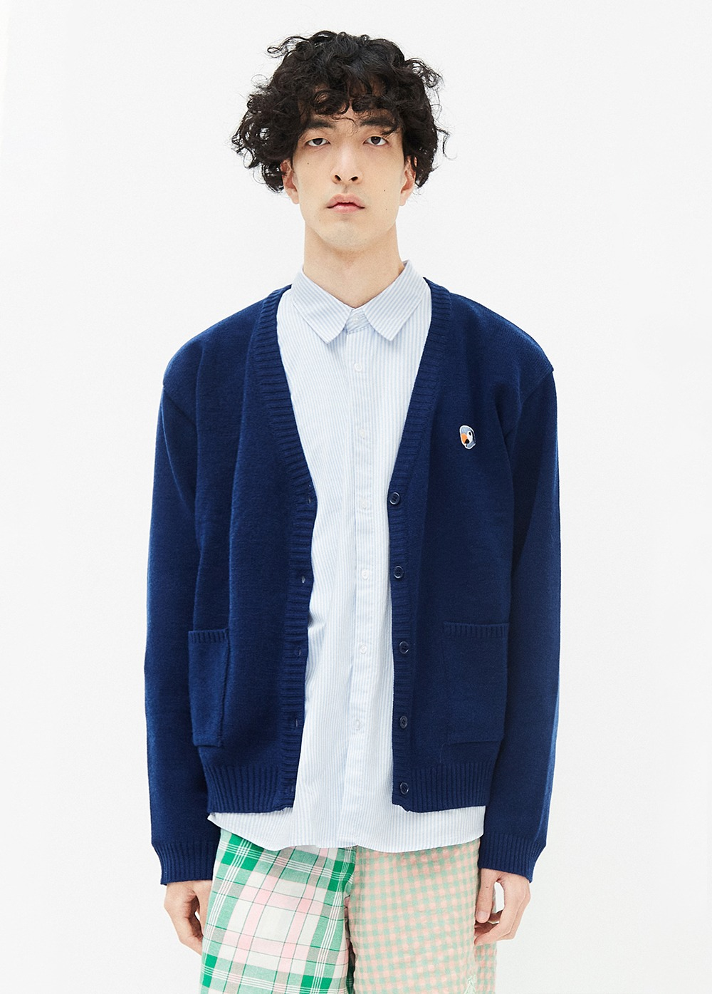 KANCO LOGO CARDIGAN navy