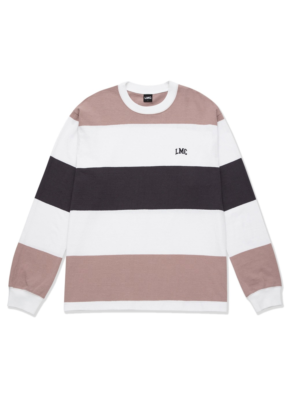 LMC BORDER STRIPE LONG SLV TEE gray pink