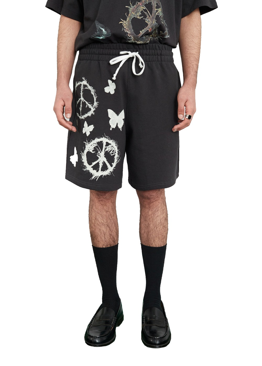 FUZZ PEACE WORLD SWEAT SHORTS dark charcoal