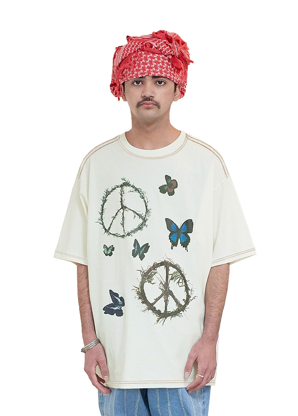 FUZZ PEACE WORLD S/S TEE cream