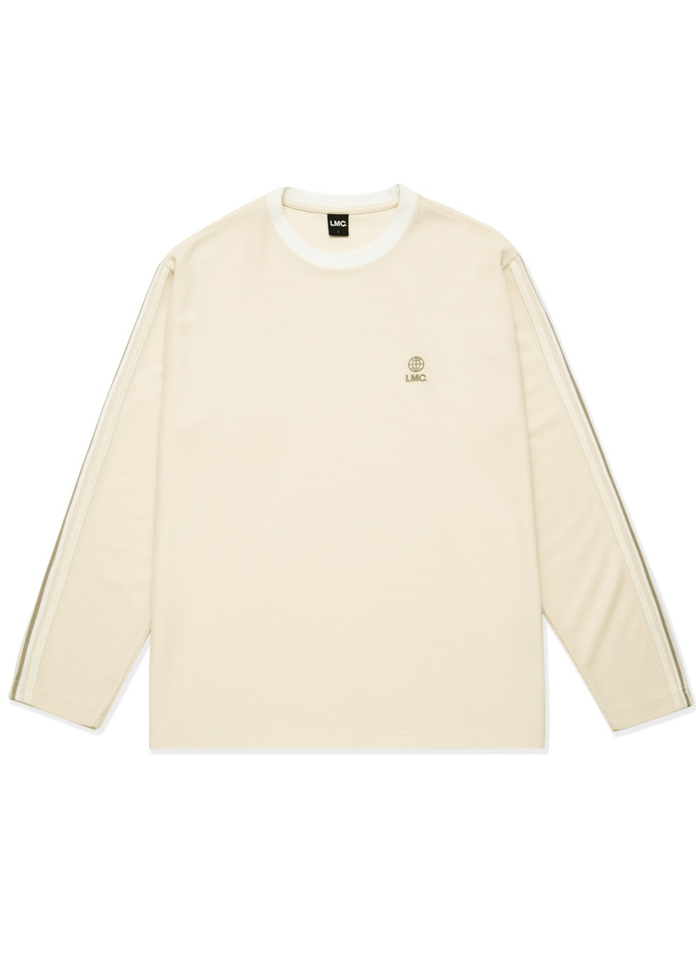 LMC SIDE STRIPED JERSEY LONG SLV TEE cream