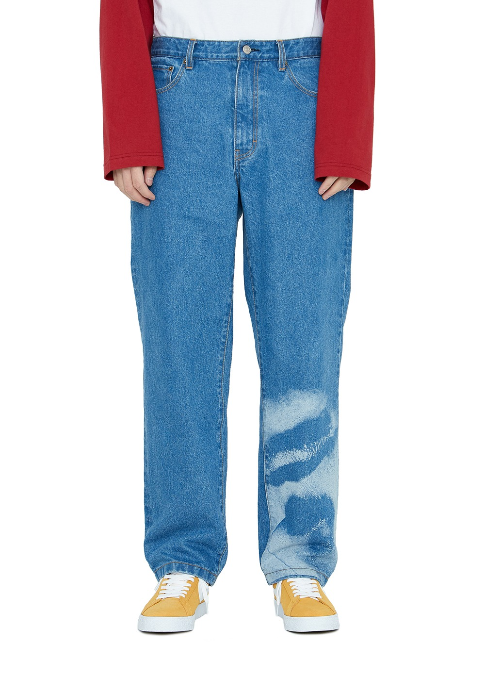 LMC LASER ENGRAVING FACE DENIM PANTS blue