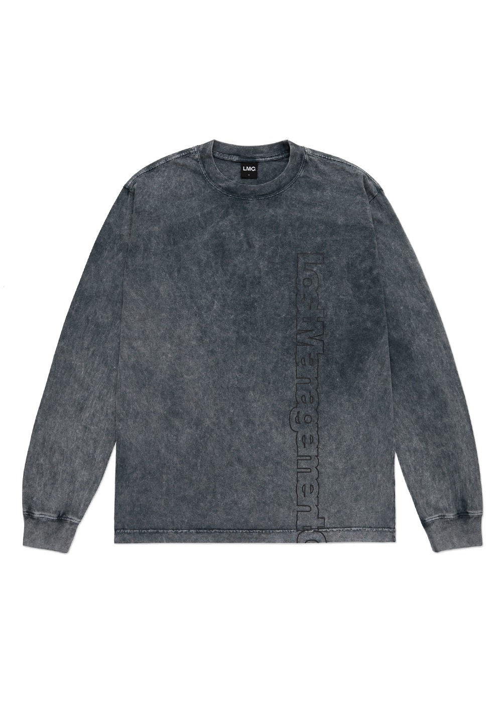 LMC ACID WASHED VERTICAL FN LONG SLV TEE black