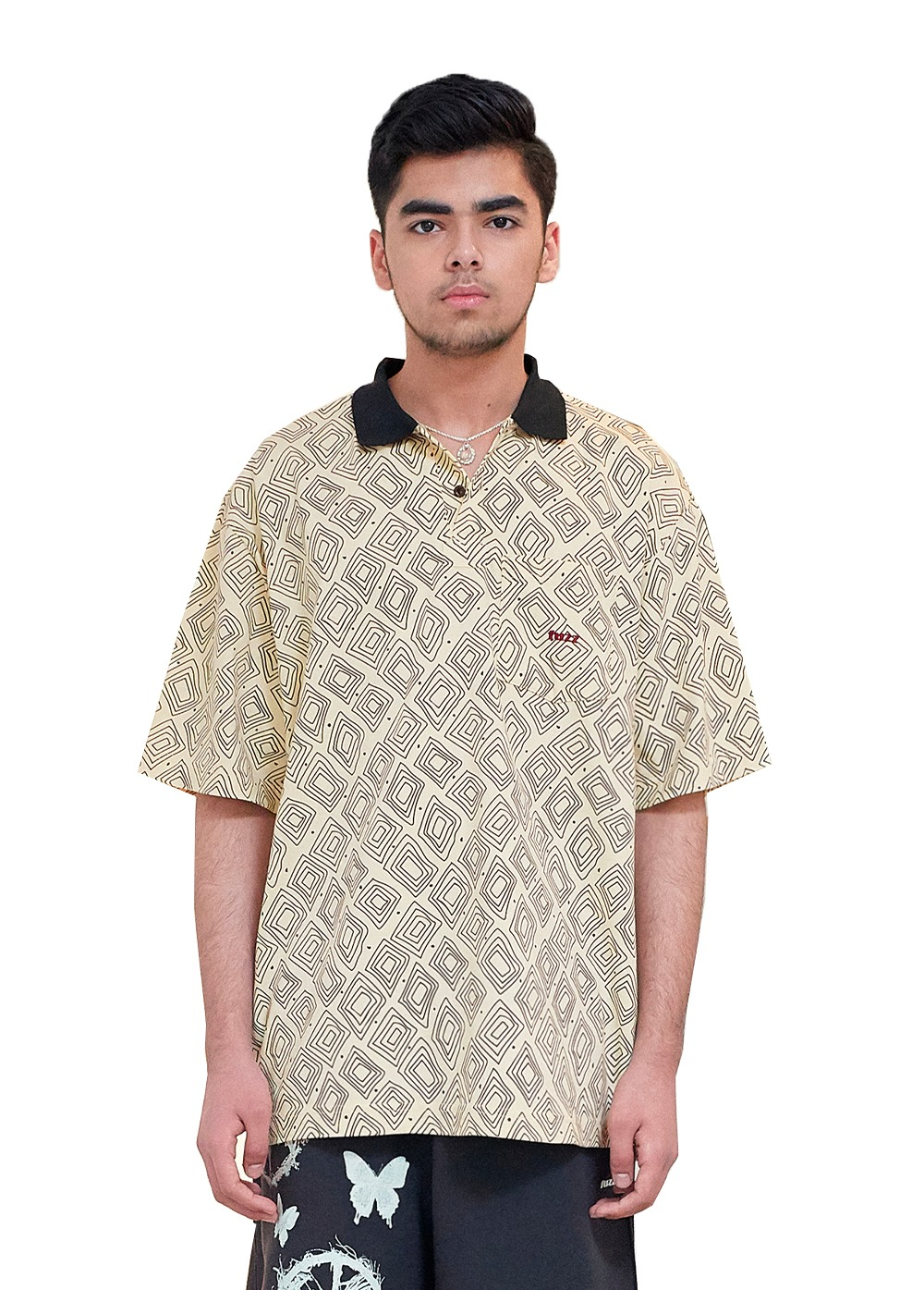FUZZ DIAMOND BLOCK POLO SHIRT vanilla