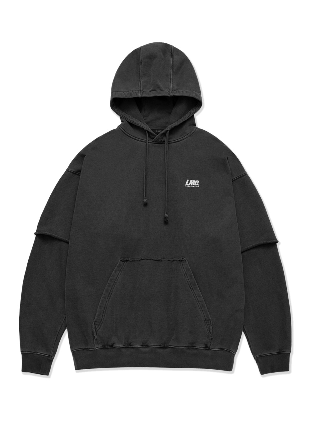 LMC OVERDYED LAYERED OVERSIZED HOODIE black
