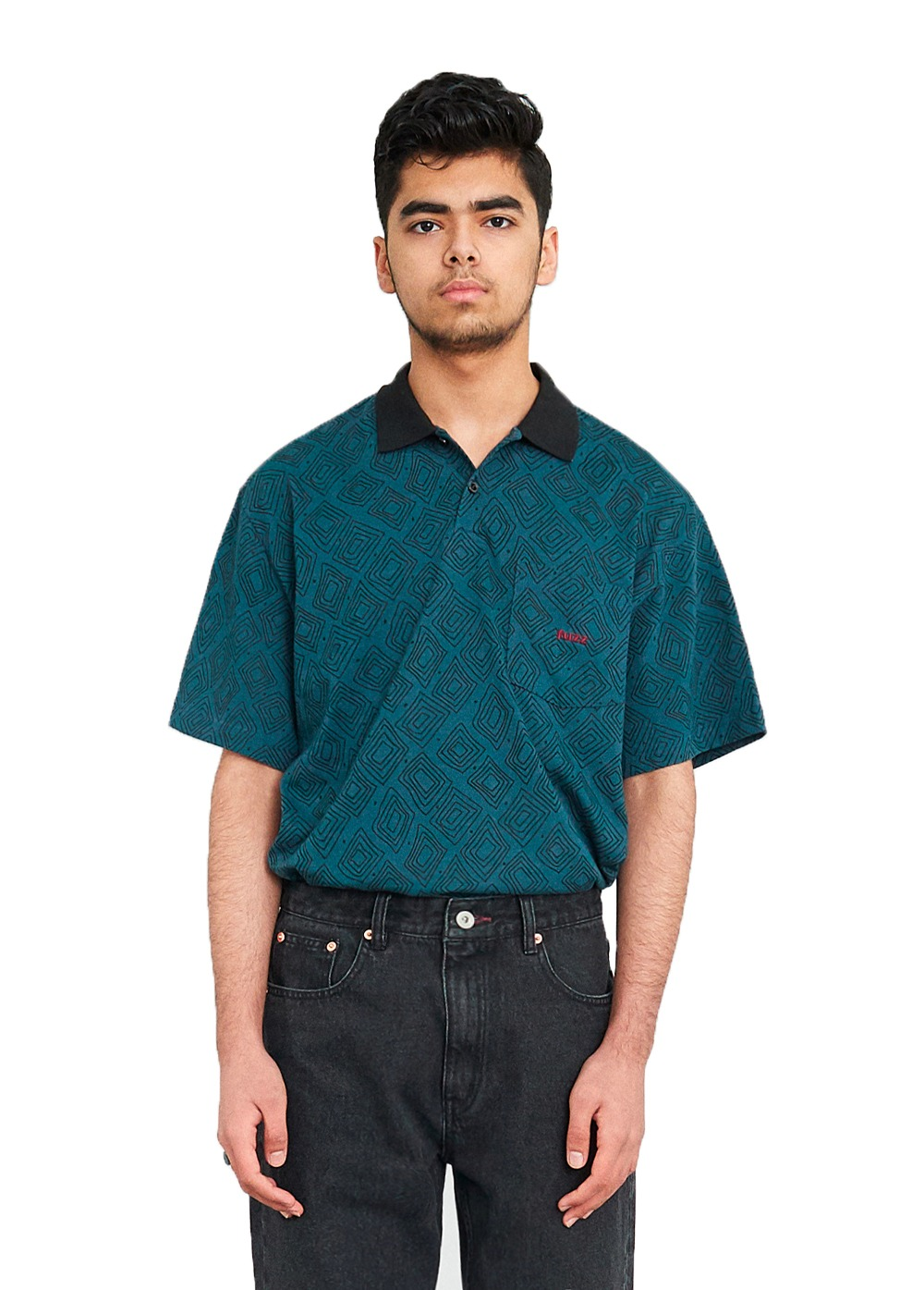 FUZZ DIAMOND BLOCK POLO SHIRT teal