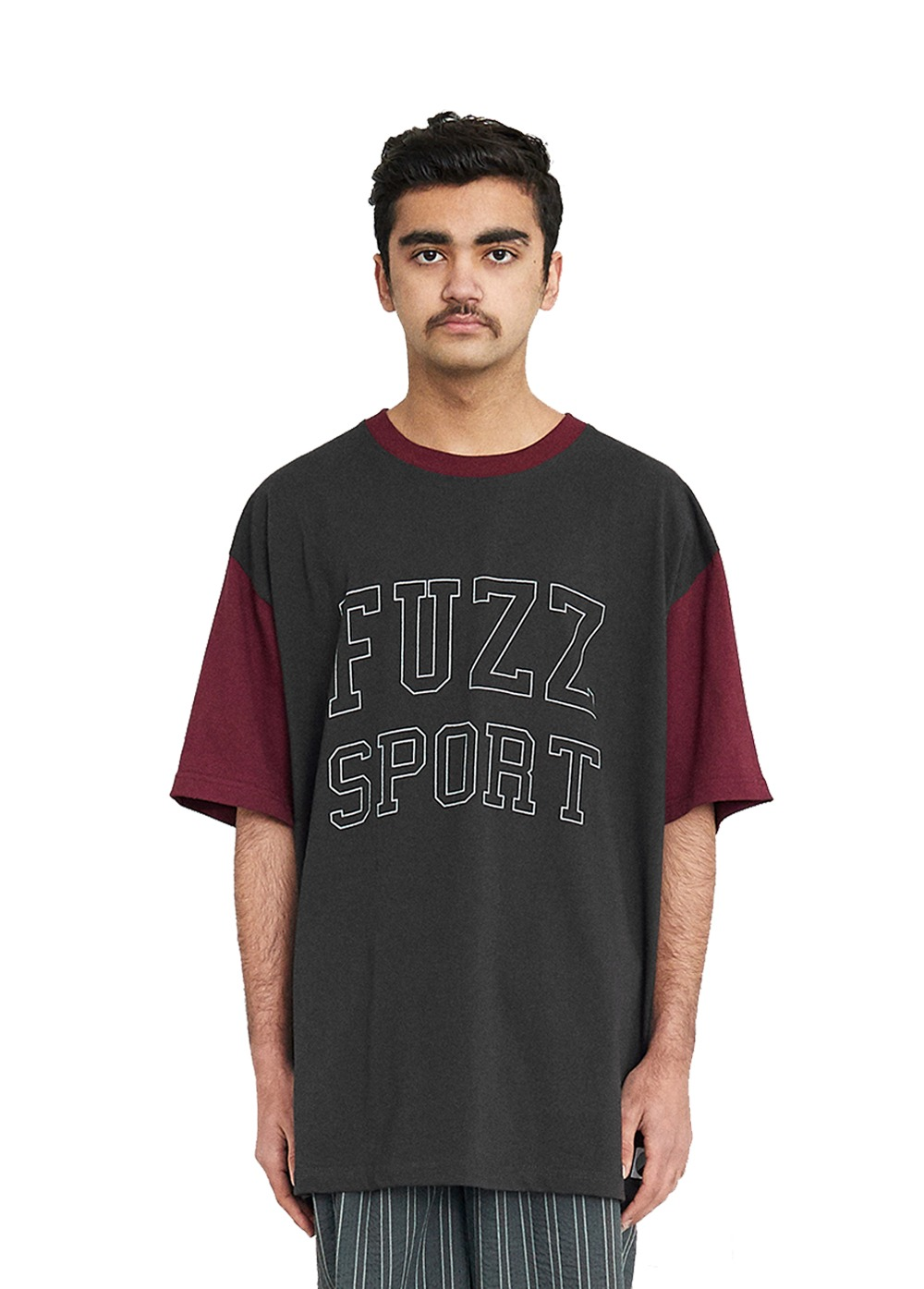 FUZZ COLOR BLOCK S/S TEE dark charcoal