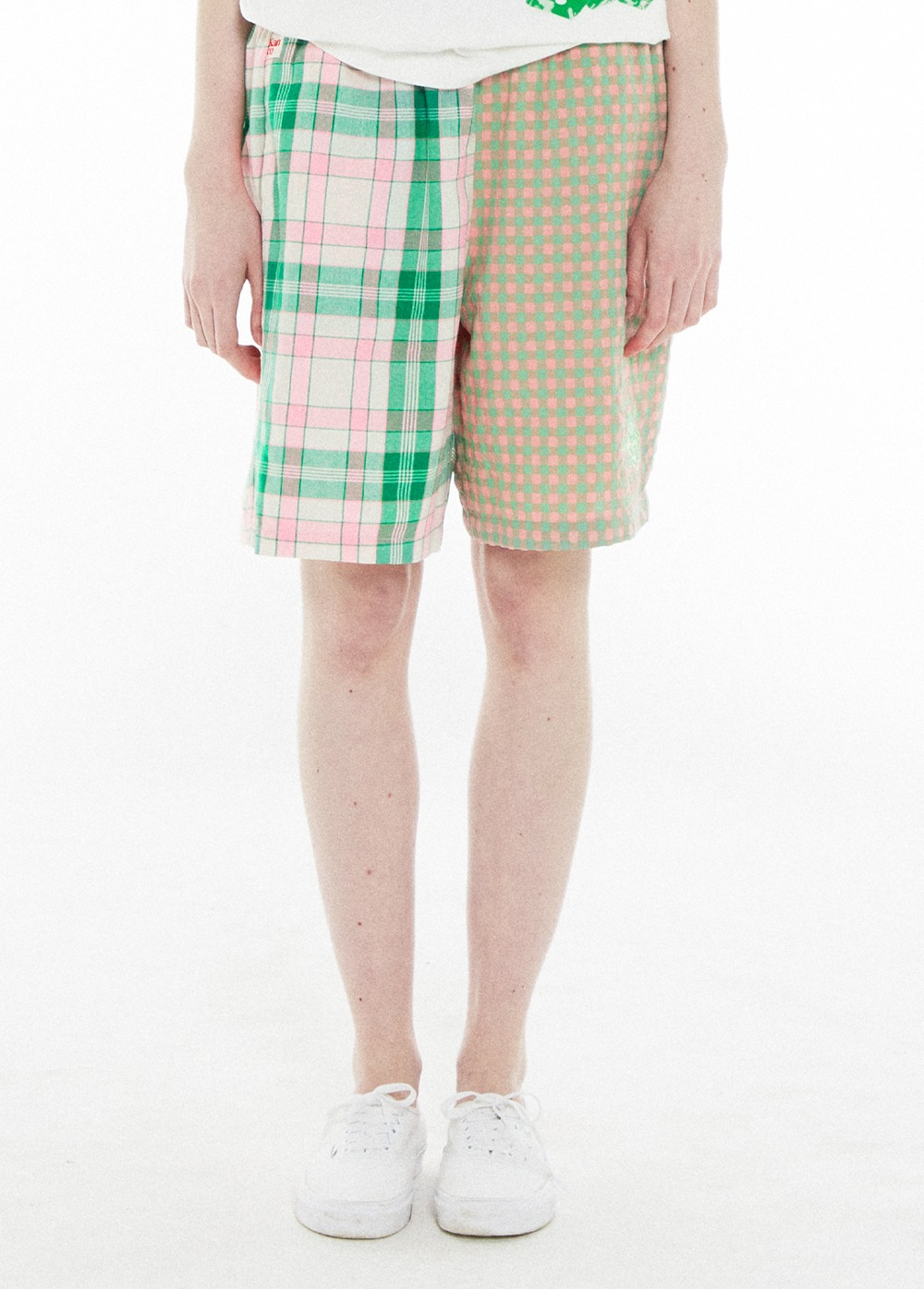 KANCO CHECK SHORTS green/pink