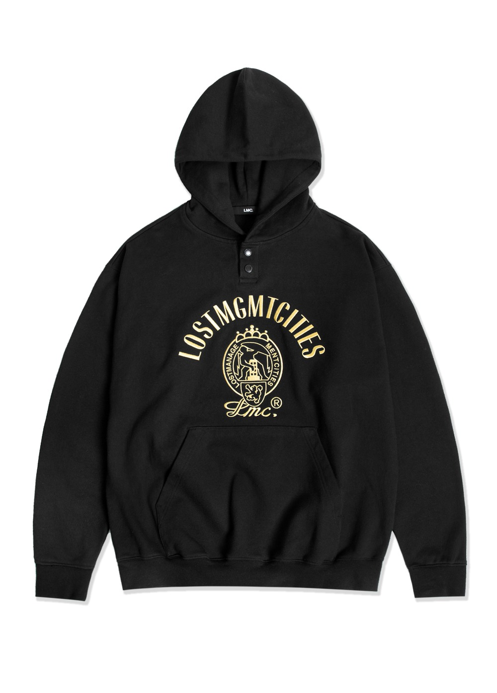 LMC DEFENSEWORK OVERSIZED HENLEY HOODIE black