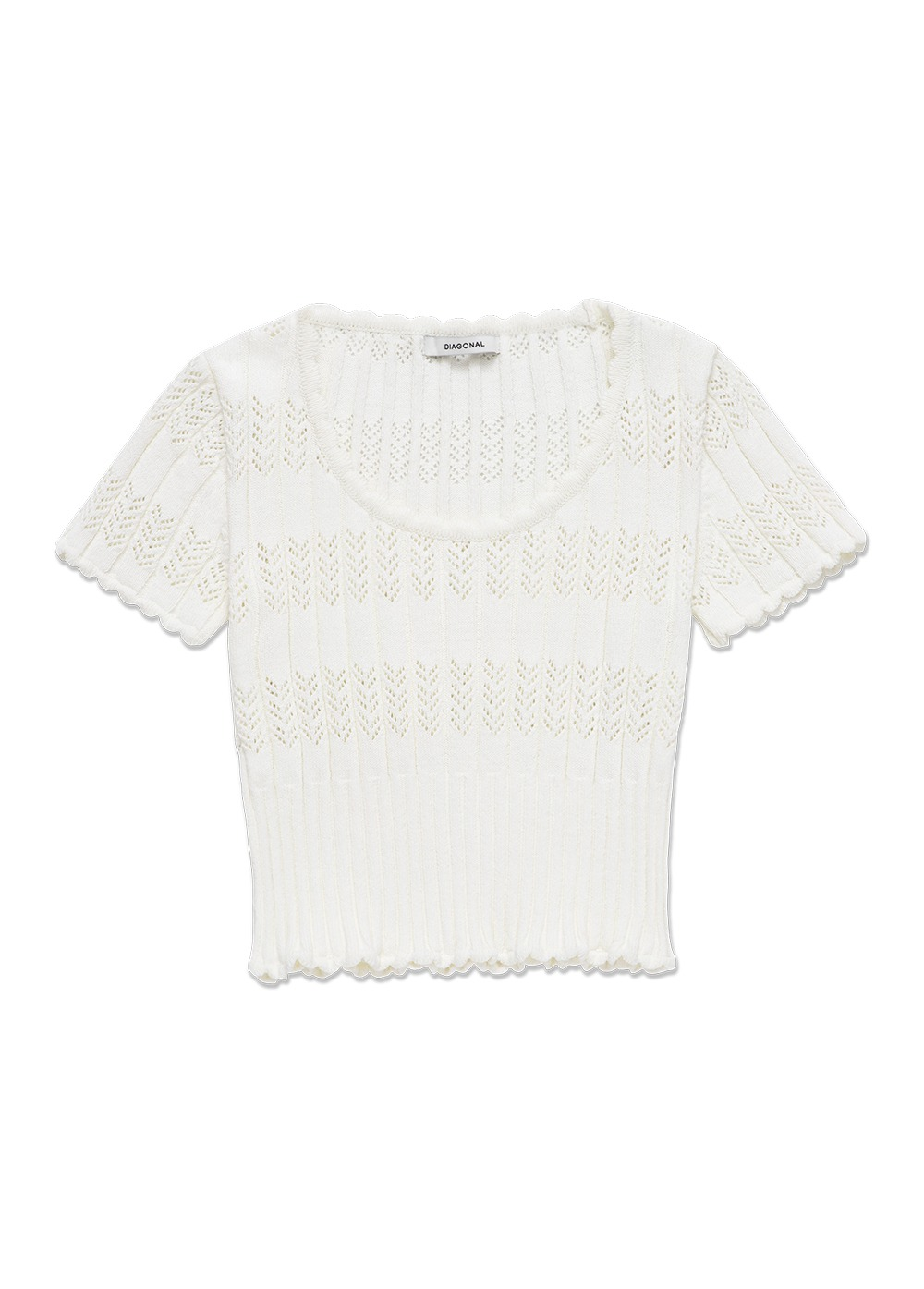MARITHE X DIAGONAL SCALLOP KNIT TOP white