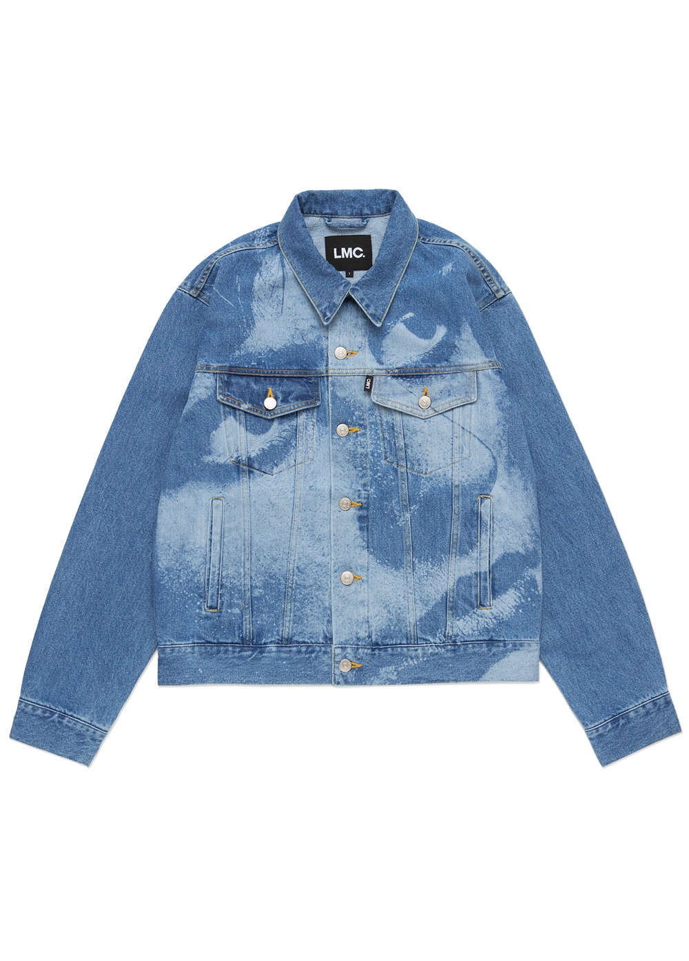 LMC LASER ENGRAVING FACE DENIM JACKET blue