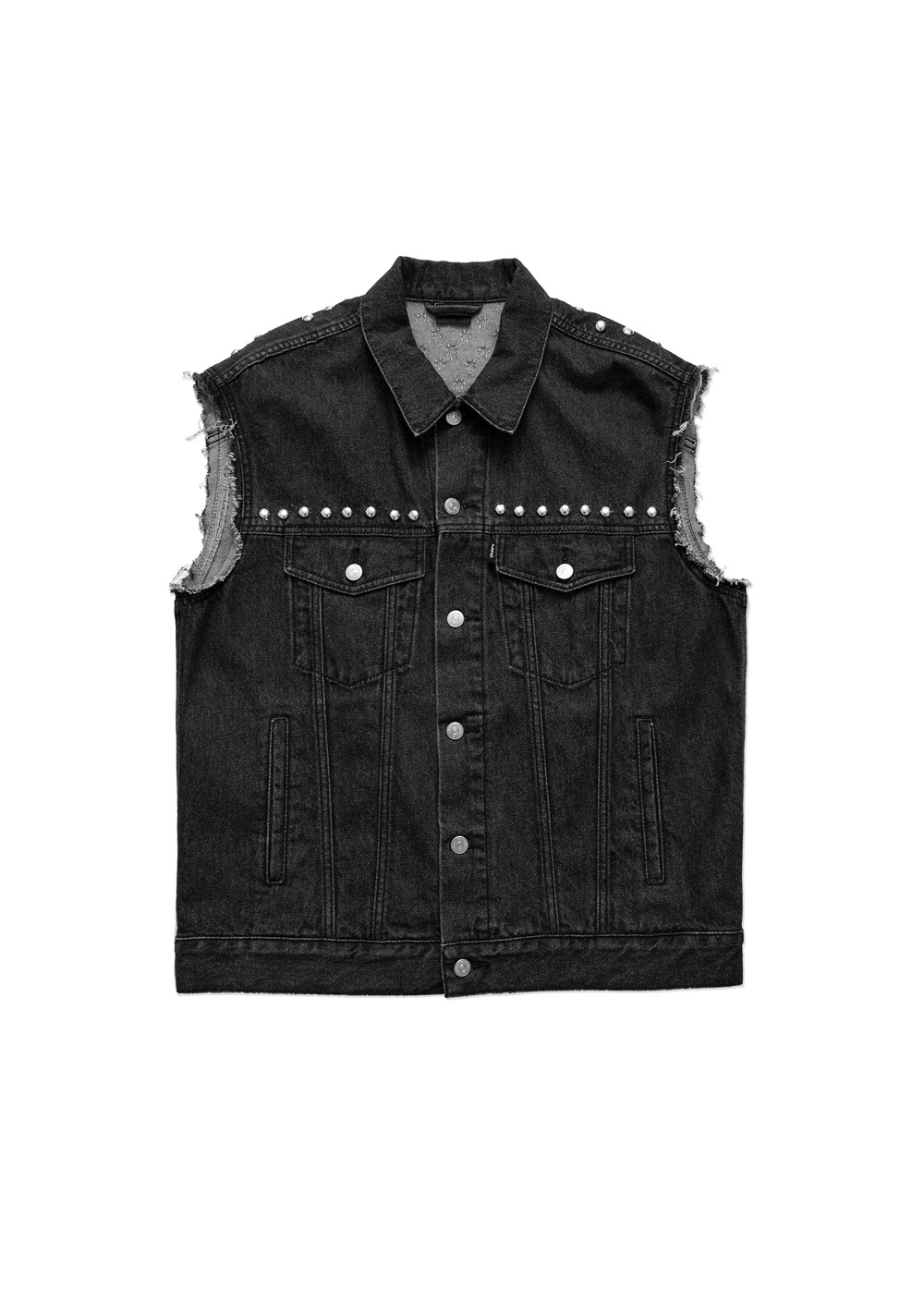 LMC STUDDED OG DENIM VEST black