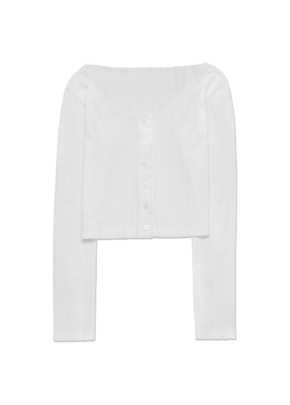 MARITHE X DIAGONAL WAVY BUTTON T-SHIRT white