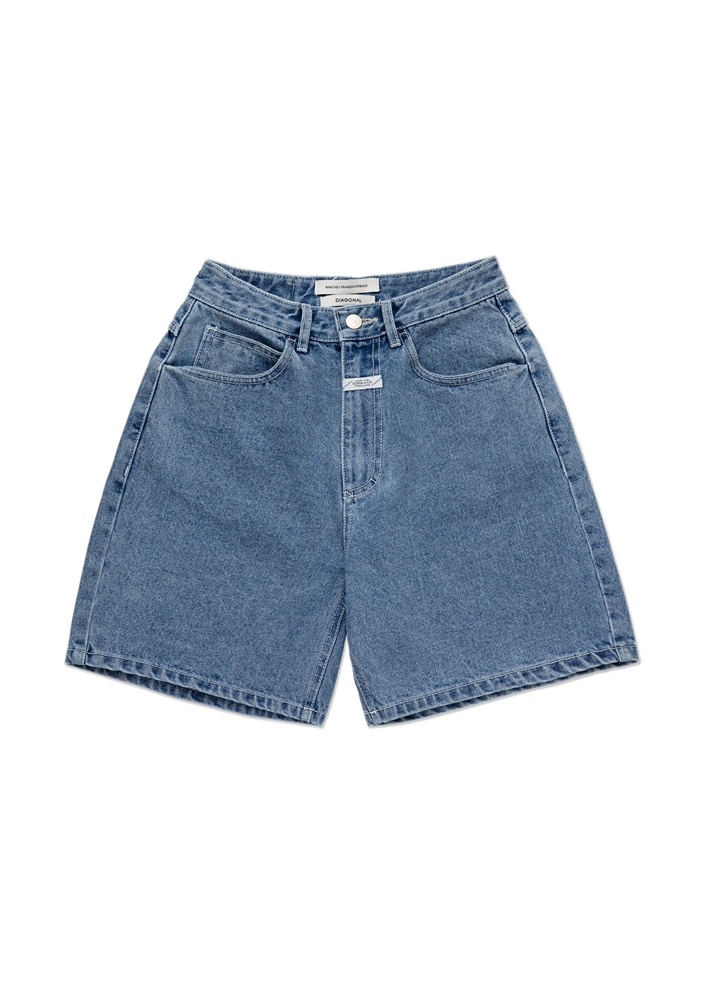 MARITHE X DIAGONAL DENIM SHORTS light indigo