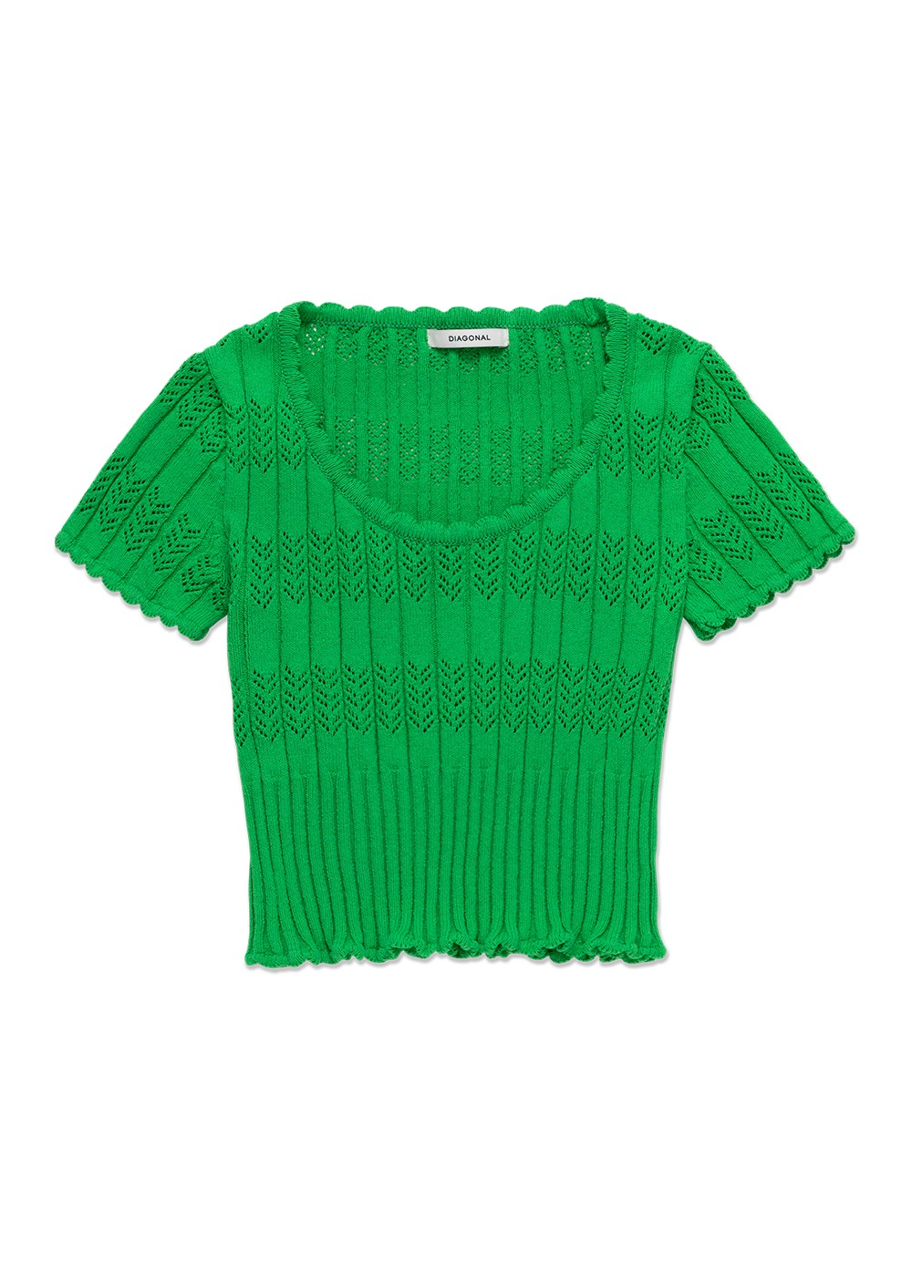 MARITHE X DIAGONAL SCALLOP KNIT TOP green
