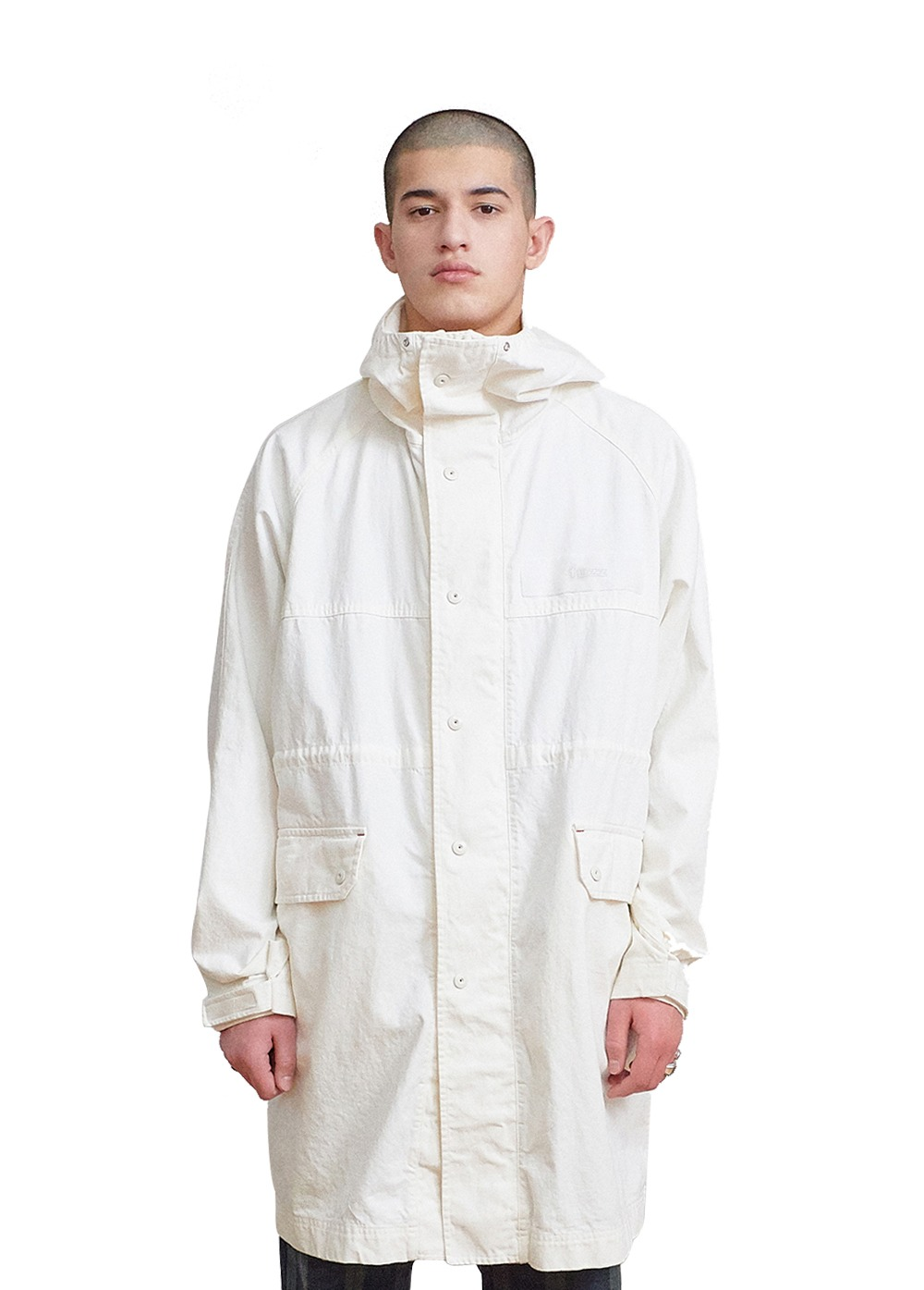 FUZZ HOODED COAT off white